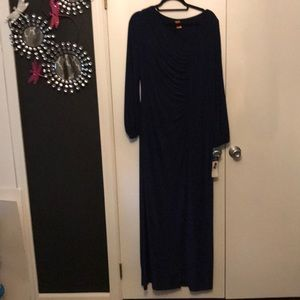 Chaps Open Sleeve Navy Gown